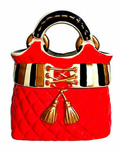 Details About David S Cookies Quilted Red Gold Tassel Handbag Purse Cookie Jar Euc