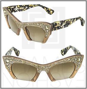 d614e4848e03 MIU MIU RASOIR SMU 02Q TVO Cat Eye Sunglasses Crystal Rock Tortoise ...
