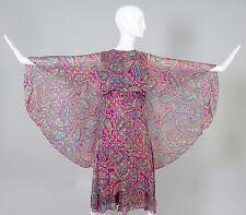 Vintage Oscar de la Renta Paisley Silk Cape Dress Size 4