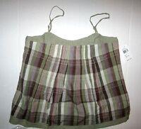 Girl Krazy By Krazy Kat Hunter Green Plaid Sleeveless Shirt Size Large 14/16