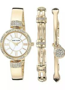 NWT-Anne-Klein-Swarovski-Crystal-Watch-Women-039-s-Bracelet-Set-AK-3294-150