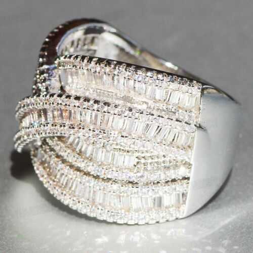 925 Silver Filled White Sapphire Birthstone Wedding Princesses Band Rings Gift