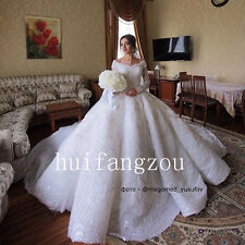 Wedding Dresses Long Sleeve Beads Formal Bridal Ball Gowns Size 4 8 12 16 Plus