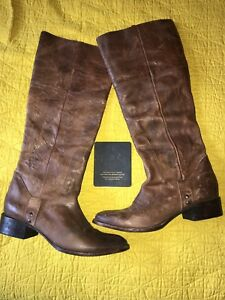 5589a958150 FREEBIRD STEVEN WRANGLER TALL BROWN DISTRESSED EMBROIDERED LEATHER ...