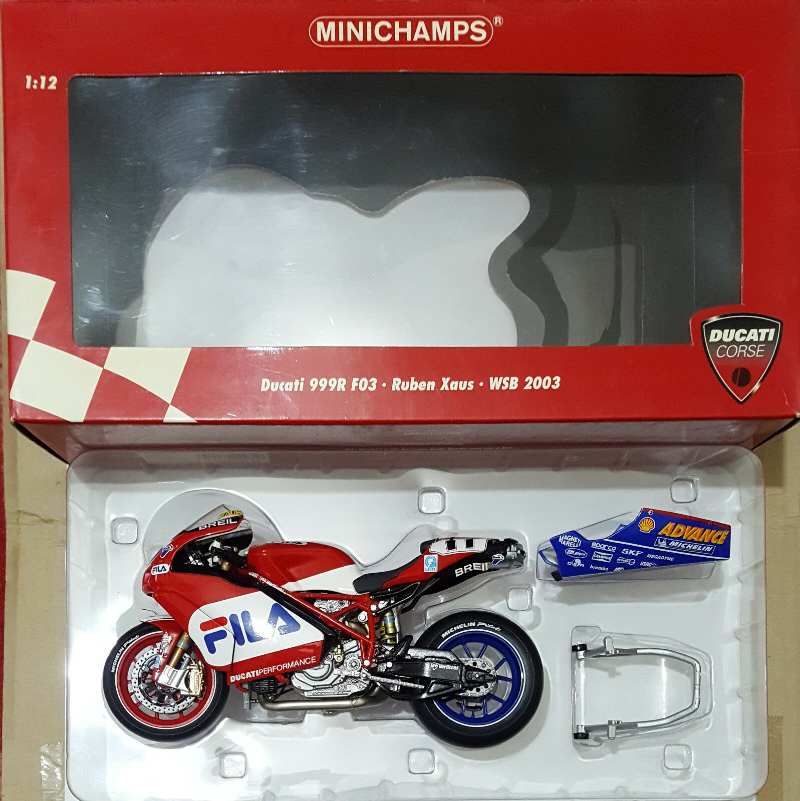 MINICHAMPS Ducati 999R F03 WSB Ruben Xaus Team Fila 2003 VERY RARE