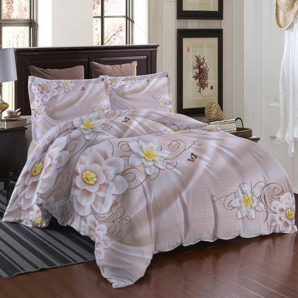A Blooming Lotus 3D Printing Duvet Quilt Doona Covers Pillow Case Bedding Sets