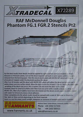 Xtradecal 1//72 X72289 RAF Phantom FG.1//FGR.2 Stencils Pt 2 decal set