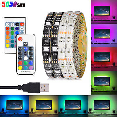 USB Powered 5V WS2812B 5050 RGB LED Strip Light Bar TV Background Lighting Lamp