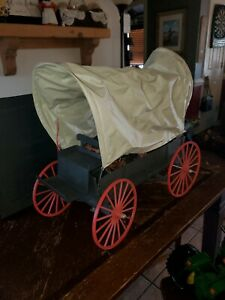 Vintage-Marx-Johnny-West-Covered-Wagon-w-Harness-and-firepit