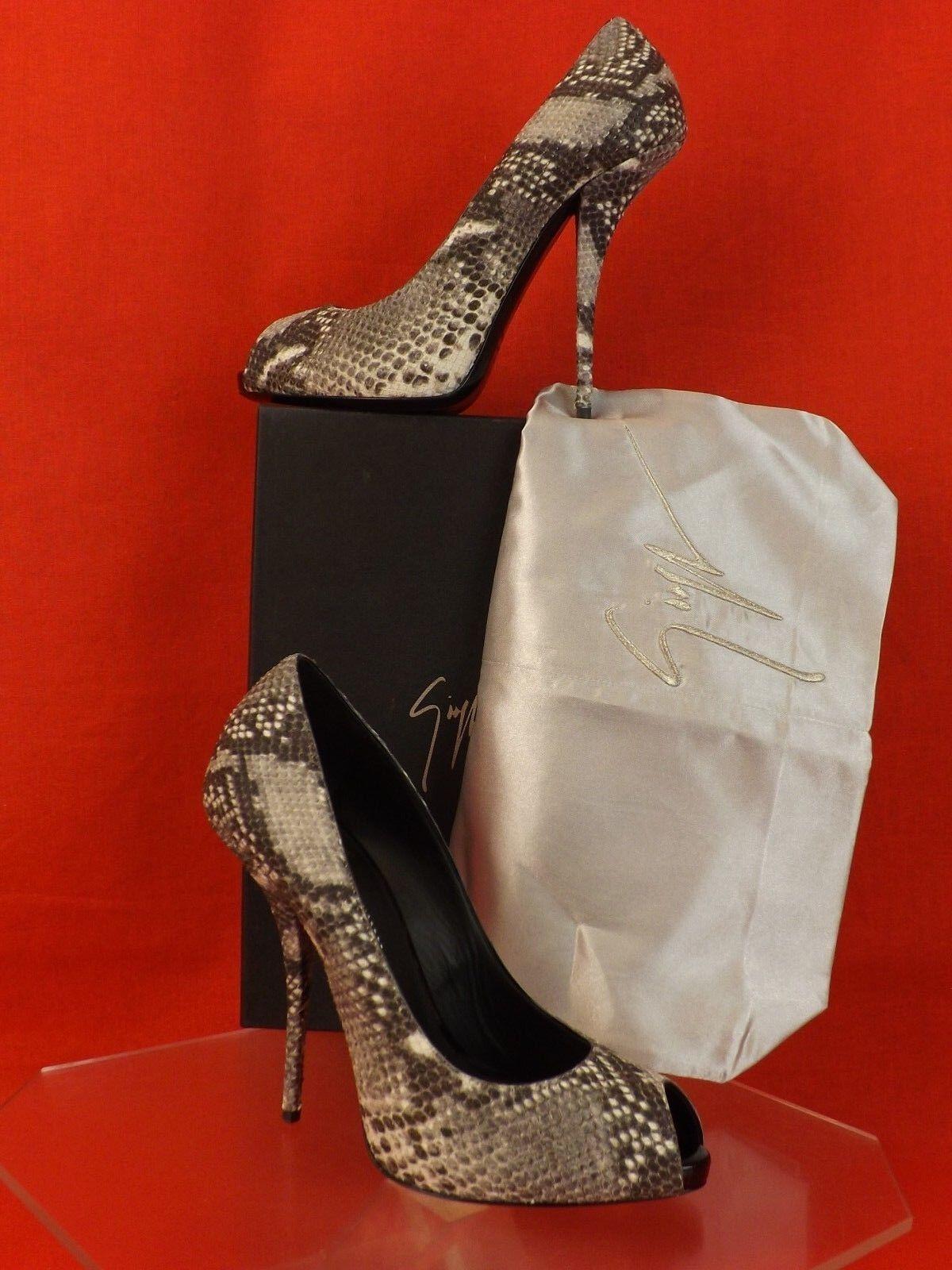 Nuevo En Caja Giuseppe Zanotti ceniza Python Cuero Cuero Cuero Peep Toe Nika Tacón Alto Zapatos De Salón 39.5  70% de descuento