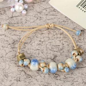 New-Chic-Ceramic-Strand-Rope-Weaving-Bracelet-Bangle-Adjustable-Ethnic-Style