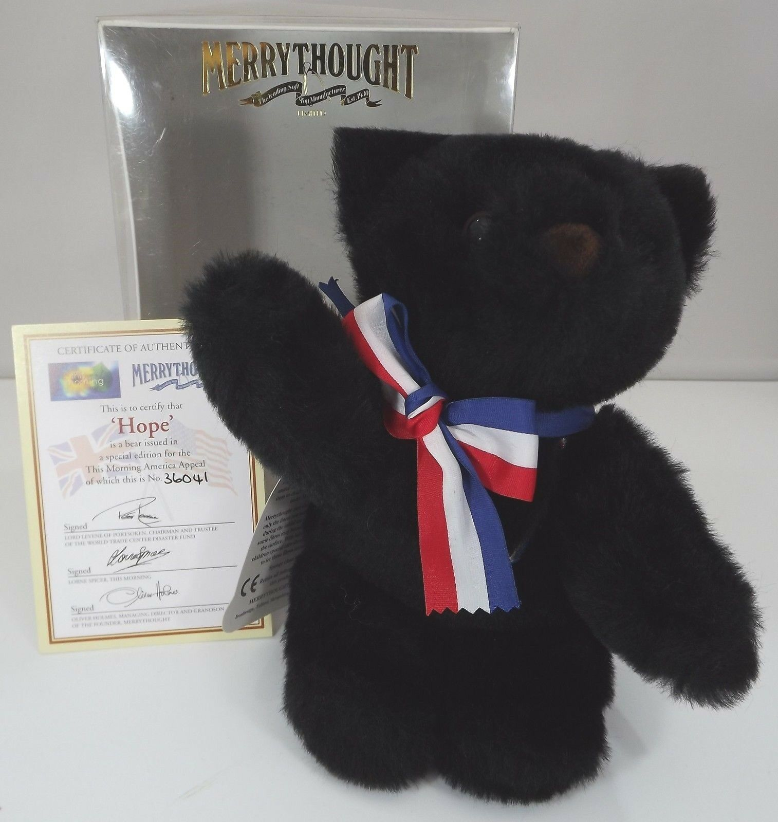 Boxed 20cm Merrythought schwarz Teddy Bear 'Hope' Special Edition