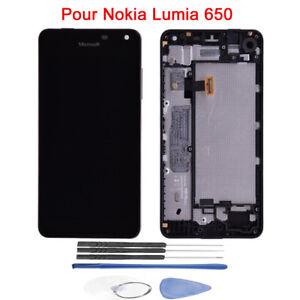 LCD-Ecran-Vitre-Tactile-Noir-Reglable-avec-Cadre-Pour-Nokia-Lumia-650-Outils