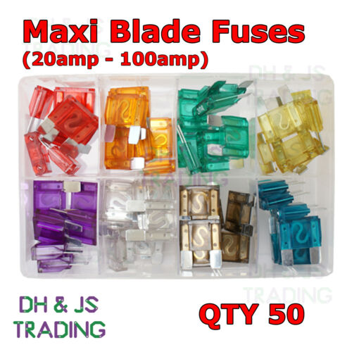 50 Assorted Box of Maxi Blade Fuses Qty 20 30 40 50 60 70 80 100amp Fuse AUTO