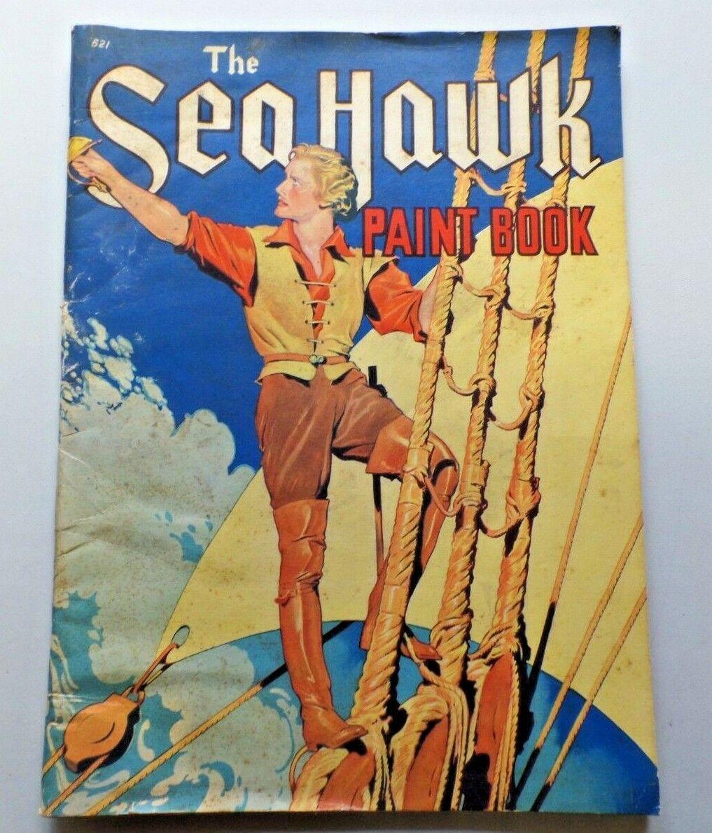 De Colección el Sea Hawk Pintura Libro 1940 Whitman Errol Flynn sin usar imagen de Warner Bros.