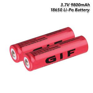 2PCS-18650-Batterie-Wiederaufladbare-3-7v-9800-MAH-Li-Ion-Zelle-Fuer-Taschenlampe
