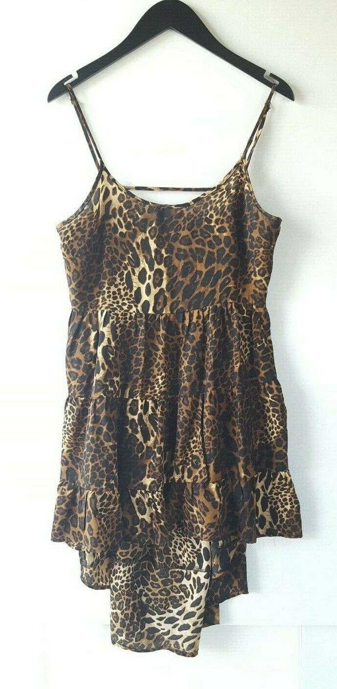 Women Ladies Tiered Leopard Babydoll Tank Strappy Party Cami Mini Dress Cocktail