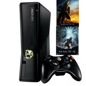Microsoft Xbox 360 S Black 4GB Console Bundle Halo 3 and 4 ...