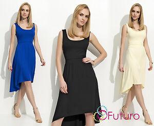 Women/'s Asymmetric Knee-Long Sleeveless Scoop Neck Dress 8-14 UK sizes FM110