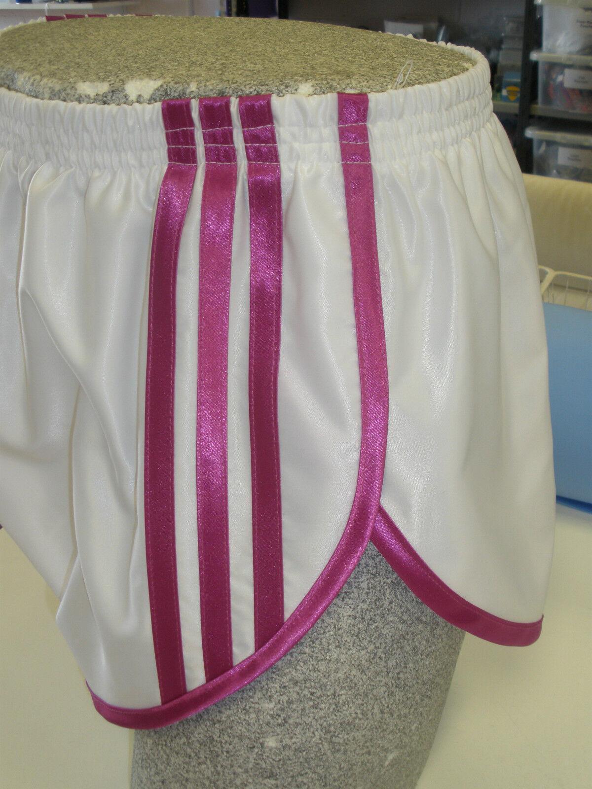 Retro Nylon Satin Sprinter Shorts S - 4XL, White - Pink