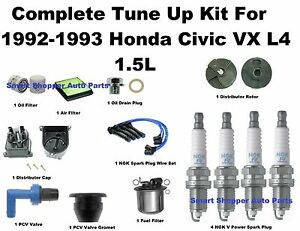 Details about Tune Up Kit 92-93 Honda Civic VX Spark Plug Wire Set, on