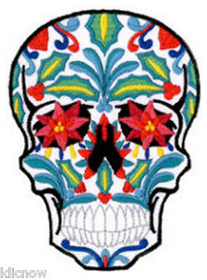 """SUGAR SKULL EMBROIDERED PATCH 7CM X 9.5CM (2 3/4"""" X 3 3/4"""")"""