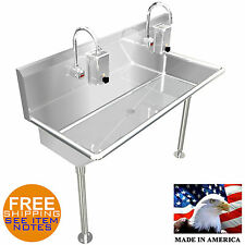 Industrial Hand Sink 2 Person Multistation 42 Hands Free Lavabo Stainless Steel