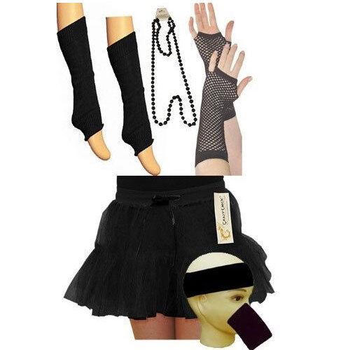 LADIES 80s NEON FANCY DRESS HEN PARTY 5 PIECE SET LEG WARMER GLOVES NECKLACE SET