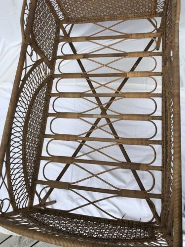Antique French Country Rattan And Wicker Crib