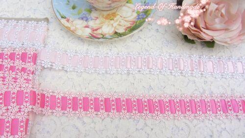2Y Beautiful Venise Venice Beading Insertion Lace Trim~White//Pink~Shining Smile~