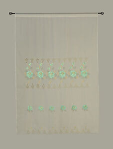 Mint Green Room Decor Embroidery Shade Sheer Window Curtain Drapes 60x90""