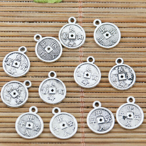 6pcs tibetan silver 2sided round bee design charms EF2274