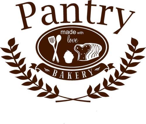 Pantry Door decal sticker made with love vinyl bread cupcake utensils bakery art