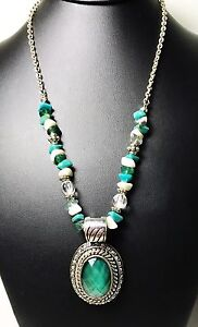 Avon-Turquoise-And-Silver-Necklace-With-Pendant-Fashion-Jewelry