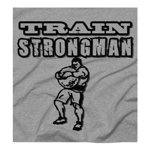 Men/'s Strongman Crossfit Training Strength Workout Grey T-Shirt
