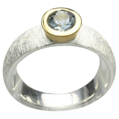 Teilvergoldeter Silberring mit rundem Aquamarin