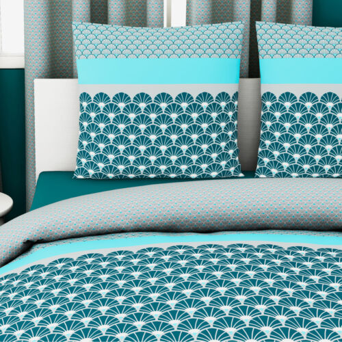 Azure Luxury Soft Scallop Sea shell Scales 100/% Cotton Duvet Cover Bedding Set