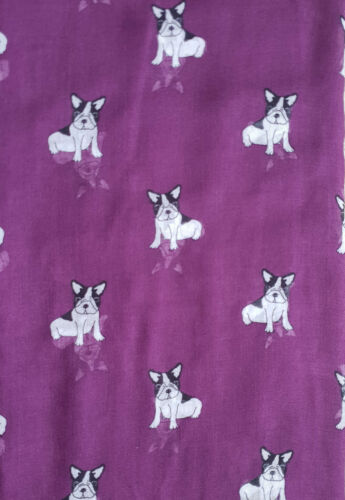 GlamLondon Little Bulldog Print Scarf Long Size French Dogs Animal Print Ladies