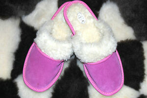 Ladie's/Women'<wbr/>s Wool and Suede Slippers Sheepskin Leather Pink Shoes Size 4 - 8