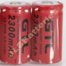 2 X 16340 2300mAh 3.7V CR123A 123A Li-ion Rechargeable Battery For Flashlight T5