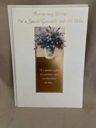Happy Anniversary Grandson And Wife Greeting Card w//Envelope NEW