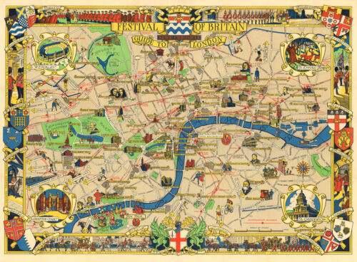 modern reproduction London Festival of Britain pictorial map