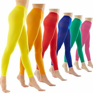 Colorful opaque pantyhose stockings tights 80 denier color colour - Microfib Color Opaque Footless Ankle Length Support Tights