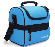 MIER Adult Lunch Box Blue Insulated Lunch Bag Large Cooler Tote Bag for Men, Wom