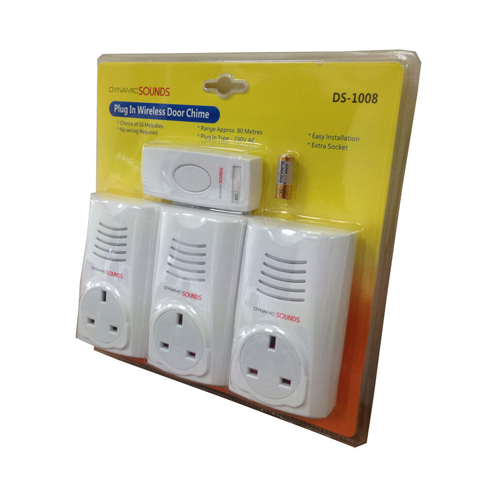 Triple Wireless Plug in Chime Set Door Bell Approx 80m Range with ...