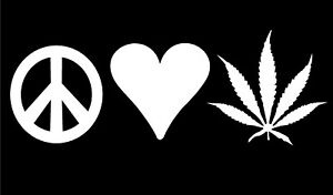 Peace Love Pot Leaf Decal Vinyl Car Truck Window Marijuana