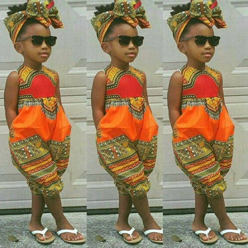 Toddler Kids Baby Girl Outfit Clothes African Print Sleeveless Romper Jumpsuit T