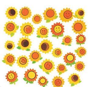 "30 Happy Sunflower Foam Bead Kids Crafts Yellow Colorful 3/4"" - 1"""