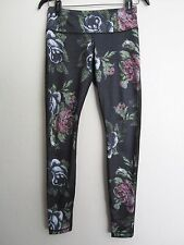 Lululemon Wunder Under 3D Garden Party Black Floral Pants 6 EUC