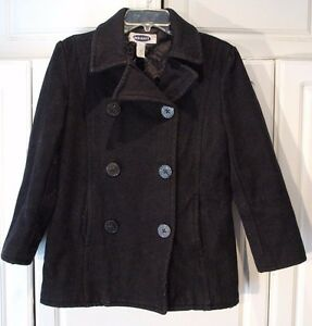 Womens Old Navy Double Breasted Black Wool Blend Pea Coat Extra ...